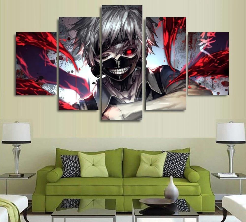 Leinwanddrucke,5 St/ücke Anime Poster Tokyo Ghoul Kaneki Ken Wohnzimmer Leinwand Modular Bild Wandkunst Wohnkultur Gr/ö/ße A