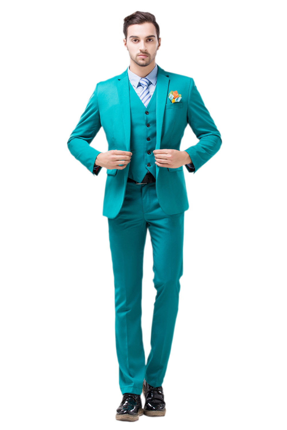 Custom Made Sea Blue Slim Fit Men\'s Suits Formal Business Suit Party ...
