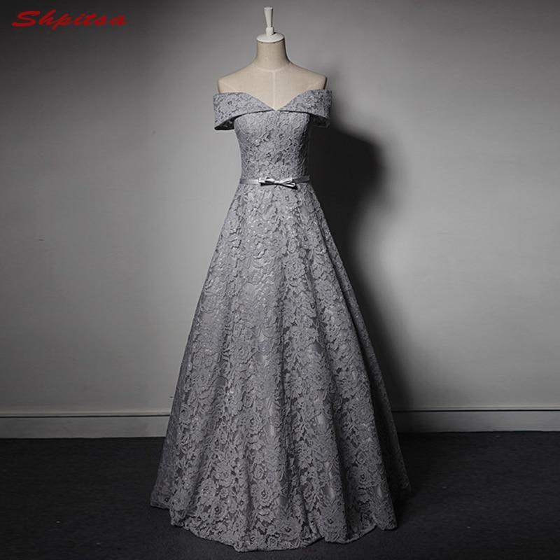 Silver Grey Mother of the Bride Dresses for Weddings Off Shoulder A Line Evening Gowns Groom Godmother Dresses