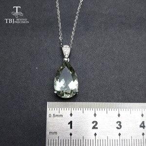 Image 4 - TBJ,Elegant จี้ธรรมชาติสีเขียวอเมทิสต์เงินแท้ 925,เครื่องประดับอัญมณีสำหรับสตรีสาวของขวัญกล่อง