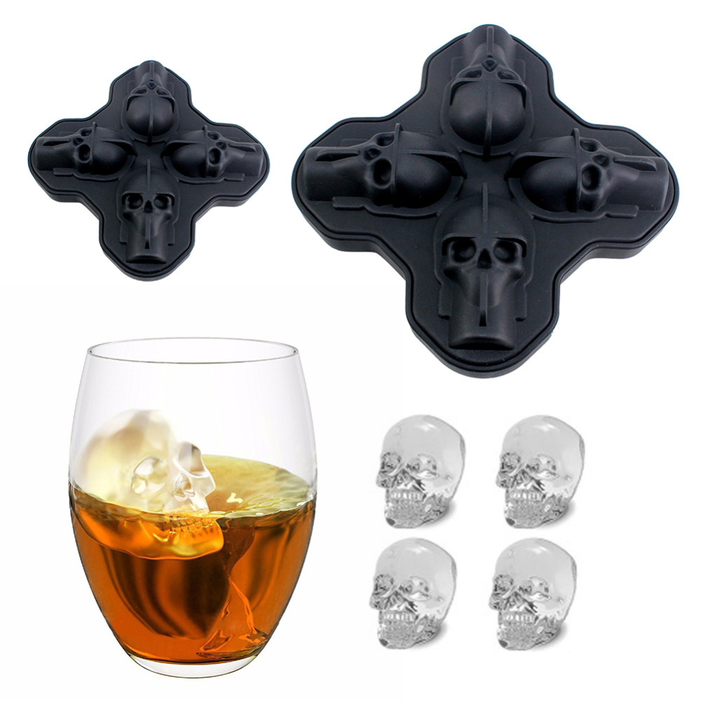 Sale Hot Large Ice Cube Mold Pudding Mold 3D Skull Silicone 4-Cavity DIY Ice Maker Kitchen Bar Whiskey Wine Ice Cube Tool