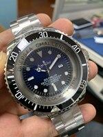 Роскошные брендовые новые мужские автоматические механические часы с сапфирами из нержавеющей стали, черный и синий цвета, спортивные часы