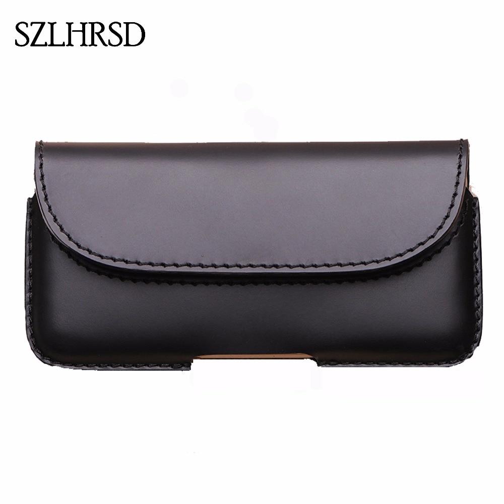SZLHRSD hommes ceinture Clip en cuir véritable pochette taille sac pour Xiao mi A2 Oukitel K8 téléphone couverture pour Elephone soldat cas noir
