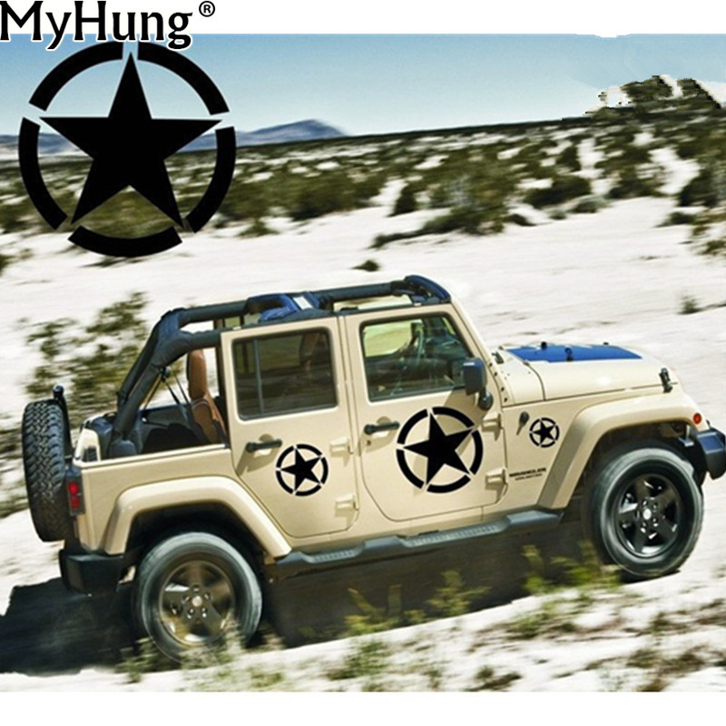 US Army Star Vinyl Car Decal Bumper Sticker Fit for Jeep Special Stars Car Sticker Wall Wrangler Car-Styling Auto Accessories alice in wonderland wall decal quote cheshire sayings we re all mad here vinyl decal for macbooks laptops car windows etc