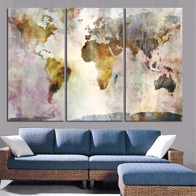 Wall art modular poster painting frame pictures 3 panel watercolor wall art modular poster painting frame pictures 3 panel watercolor world map hd printed living room gumiabroncs Image collections