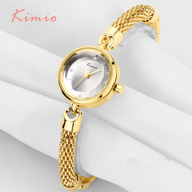 KIMIO Ladies Simple Small Dial Mesh Bracelet Band Woman Watches 2018 Brand Luxury Watch Women Gold Wrist Watches For Women Clock kimio s k458l