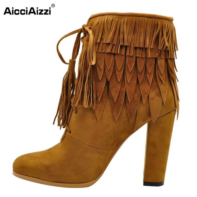 все цены на Tassel Boots High Heel Shoes Women Pointed Toe Fashion Ankle Motorcycle Boots Female Autumn Stiletto Boots Shoes Size 35-46 B246