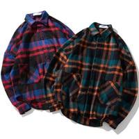 H.A. Sueno 2018 new spring thick tartan check shirts thick plus size long checked shirt vintage england style mens Plaid shirts