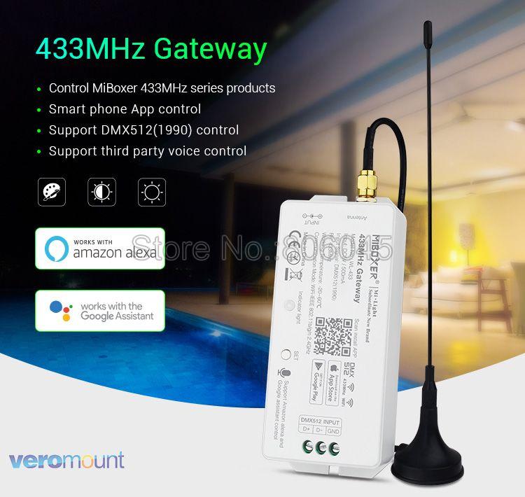 Miboxer WL-433 433MHz Gateway 2.4GHz WiFi Compatible APP Control DMX512 Control Amazon Alexa & Google Assistant Voice Control