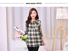 Pregnant women in the shirt long coat loose long-sleeved maternity spring and autumn period  lapel plaid shirt spring clothing