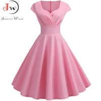 Pink Summer Dress Women 2019 V Neck Big Swing Vintage Dress Robe Femme Elegant Retro pin up Party Office Midi Dresses Plus Size