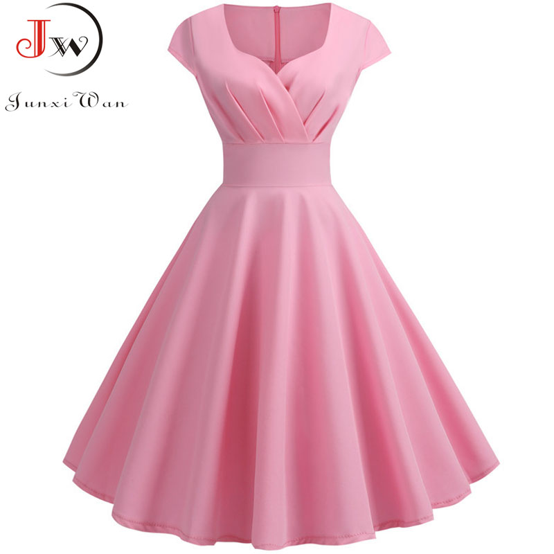 Pink Summer Dress Women 2019 V Neck Big Swing Vintage Dress Robe Femme Elegant Retro Pin Up Party Office Midi Dresses Plus Size