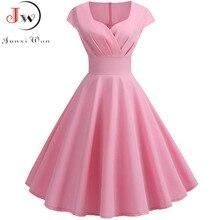 Rosa vestido de verano de las mujeres 2019 V cuello gran vestido Vintage estilo Swing vestido de mujer elegante Retro pin up fiesta Oficina vestidos Midi de talla grande