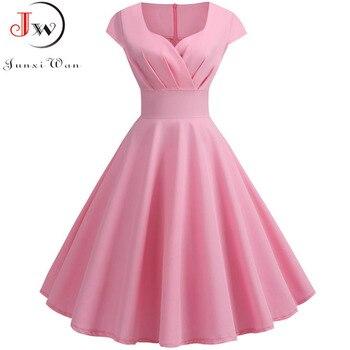 Różowa letnia sukienka damska 2019 V Neck duża huśtawka sukienka Vintage szata Femme elegancka Retro pin up Party biurowa, o średniej długości sukienki Plus rozmiar