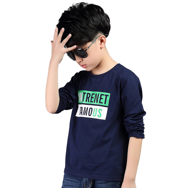 Brand Tops for Boy Cotton T-shirts O-neck Children T Spring Tees Infant Long Sleeve Clothing Kid Casual T shirt 2-12 Letter Tops