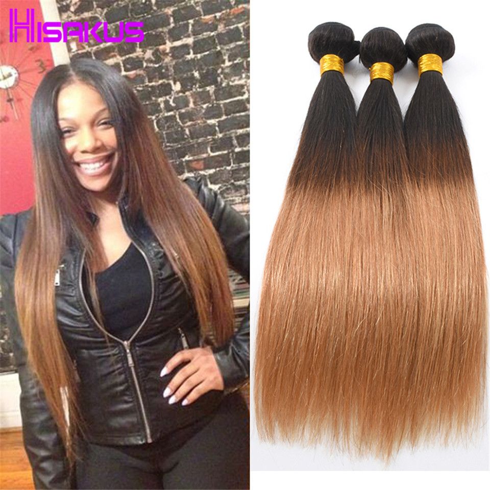 Virgin Brazilian Straight Hair Ombre Human Hair Weave 3 Bundles Mink Brazilian Virgin Hair 7a Unprocessed Virgin Hair 1b/27 Wavy