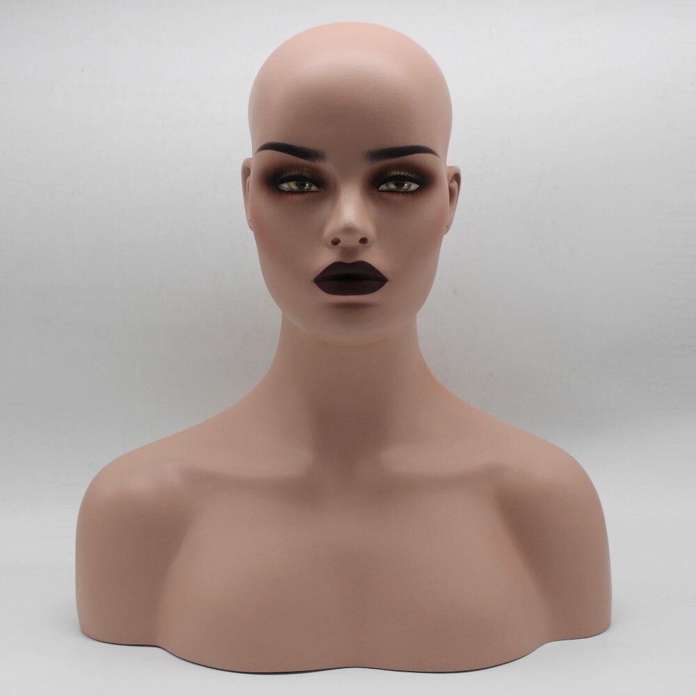 가발 보석 및 모자 디스플레이에 대 한 여성 현실적인 유리 섬유 마네킹 머리 흉상 판매-에서파티 DIY 장식품부터 홈 & 가든 의  그룹 1