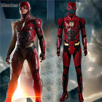 Justice League The Flash Barry Allen Cosplay Costume Halloween Clothes Movie Superhero Outfit Boots Mask Adult Men Red Suit
