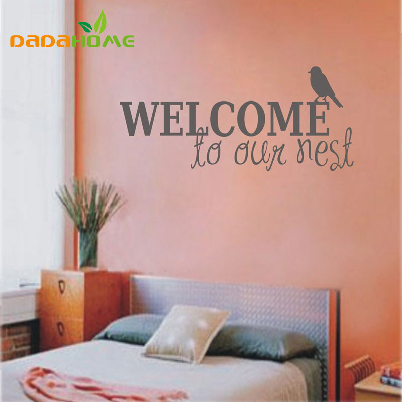 Welcome to our home quote wall decals decorative adesivo de parede removable vinyl  Bird wall stickers wall stickers