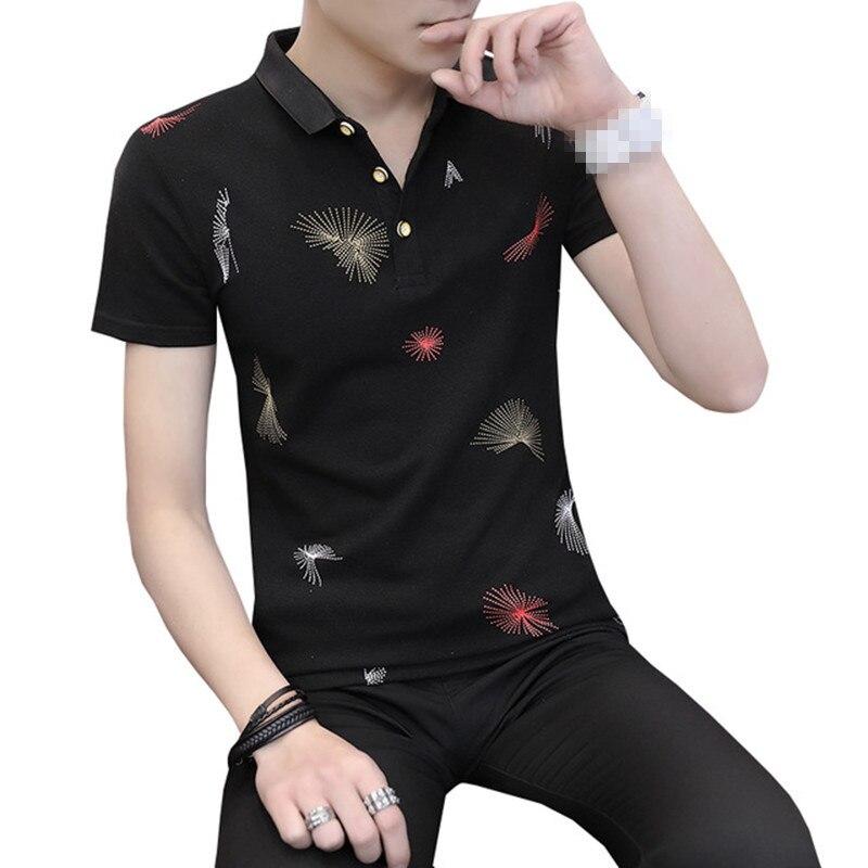 Arilce Shovel-Game-Knight Men Polo Shirt Short Sleeve Lapel Blouse Black