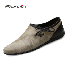 Plardin New Four seasons Fashion Plus Size Man Split Leather soft Comfortable Casual Light loafers Lace