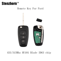 Stenzhorn 3pcs 3Buttons 433 315Mhz Folding Complete Remote Key Fob For Ford Focus Fiesta ASK Signal