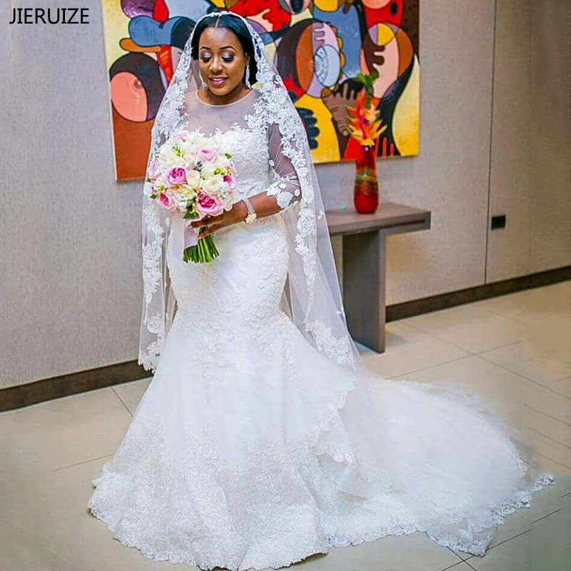 JIERUIZE White Lace Appliques Mermaid Wedding Dresses With 3 4 Sleeves Wedding Gowns Black Girl Bridal