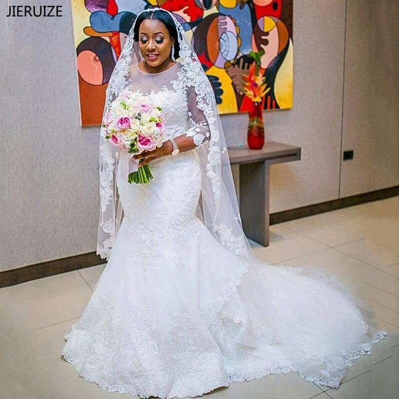 JIERUIZE dentelle blanche Appliques sirène robes de mariée avec 3/4 manches robes de mariée fille noire robe de mariée robes de noiva