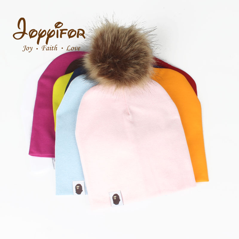 JOYYIFOR Baby Hat Faux Fur Baby Cap Cotton Pompom Bobble Hat For Kids Winter Boys And Girls Caps Artificial Fur Children's Hats new super mario cotton caps red hat mario and luigi cap 5 colors anime cosplay costume halloween buckle hats adult hats caps
