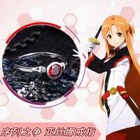 Deluxe Anime Sword Art Online Kirito Costume Yuuki Asuna SAO 925 Silver Ring Adjustable Props Jewelry New