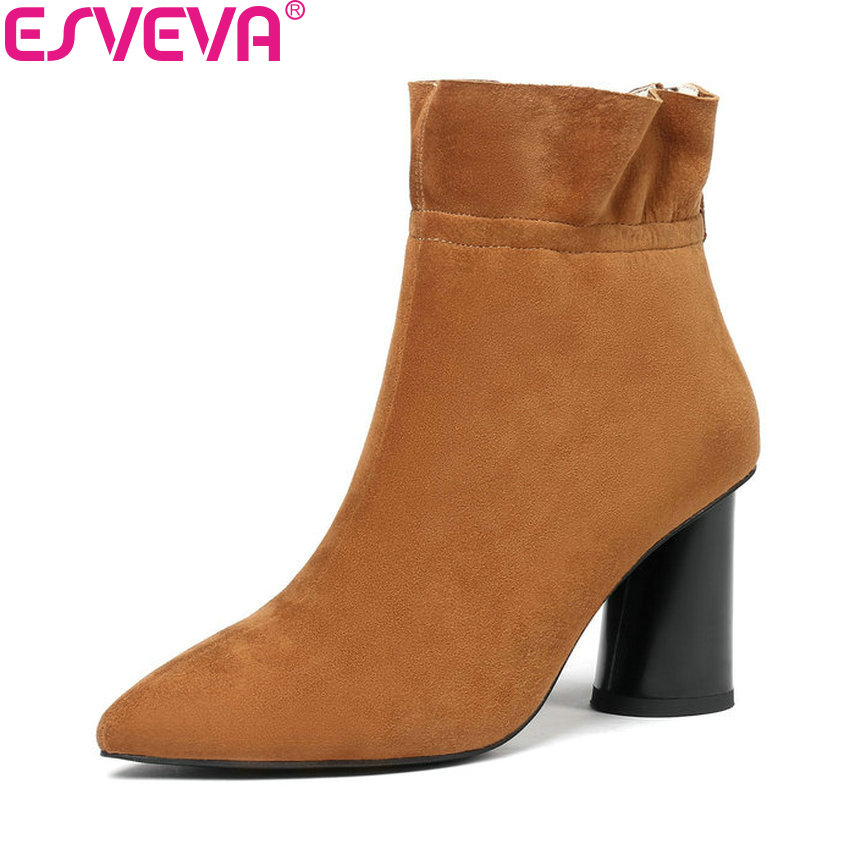 ESVEVA 2019 Shoes Woman Short Plush Zip Kid Suede Square High Heels Ankle Boots Pointed Toe Basic Boots Women Shoes Size 34-43 esveva 2018 women boots high heels short plush buckle ankle boots square heels chunky pointed toe sexy fashion shoes size 34 39