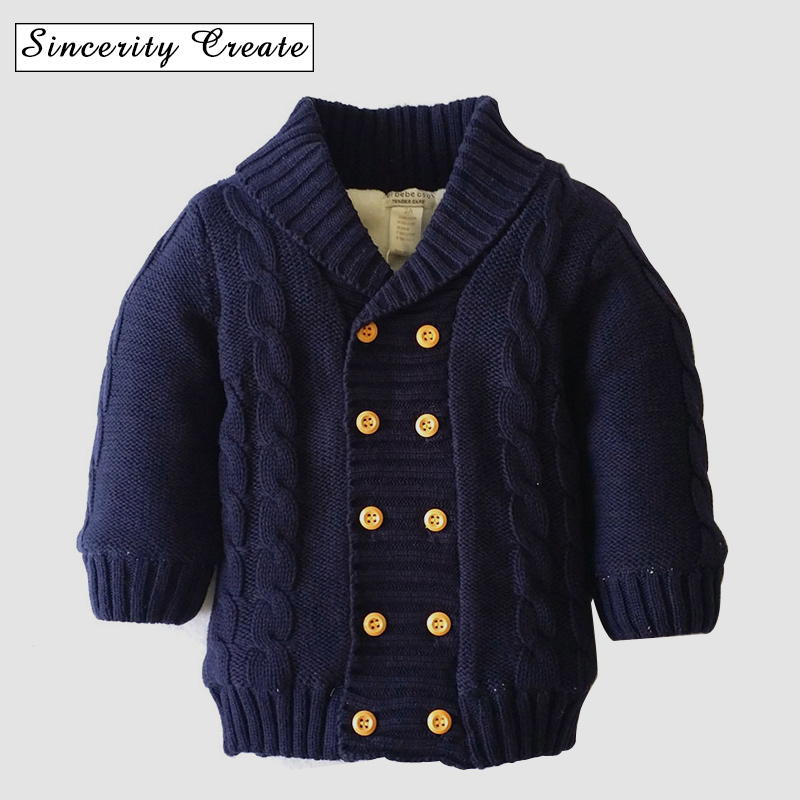 Double Breasted V-neck Full Sleeve Boy Girl Knit Jacket Cotton Baby Winter Tops Thick velvet turn-down collar solid ABS-1536 casual v neck flouncing hem single breasted long sleeves solid color women s knit cardigan