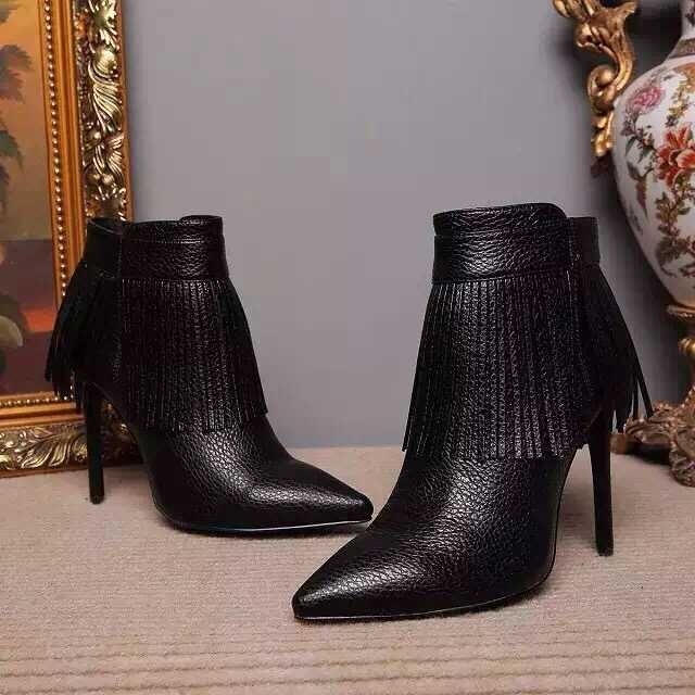 High Quality Black Soft Leather Fringe Boots Women Sexy Pointed ...