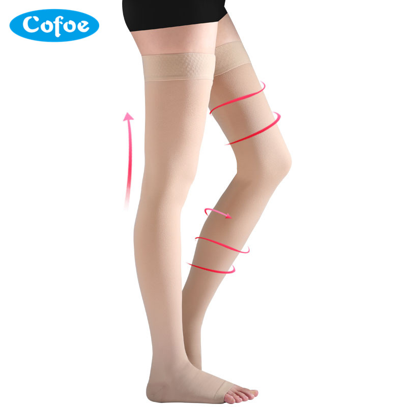 Cofoe A Pair Compression Stockings Varicose Veins 23-32mmHg Pressure Level 2 mid-Calf length Medical Socks for Beautiful Women ombre circle calf length socks