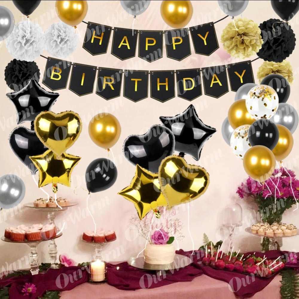 OurWarm 51Pcs Conjunto Ouro Preto Bandeira Do Feliz Aniversario Balões Decorações Da Festa de Aniversário de Papel Pompons Ouropel Folha Franja Cortina