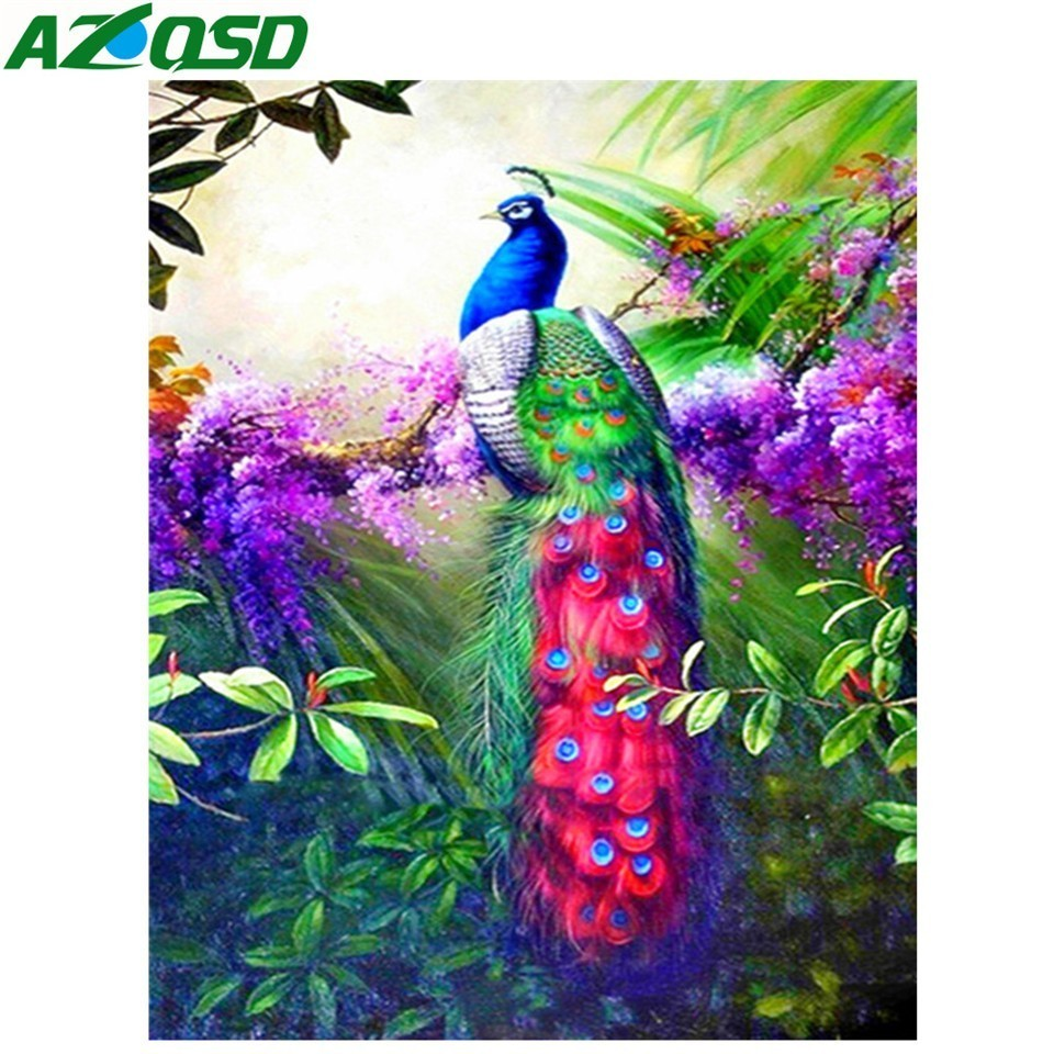 AZQSD Diamond Mosaic Peacock Cross Stitch Handmade Home Decor 5d Diamond Painting Animal Picture Of Rhinestones Crafts Gift(China)