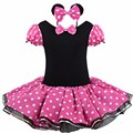 2017 New Minnie Mouse Kids Girls Party Dress Fancy Costume Ballet Girls Tutu Dress+Ear Hair Clip 2 4 6 7  Years Girls Dress