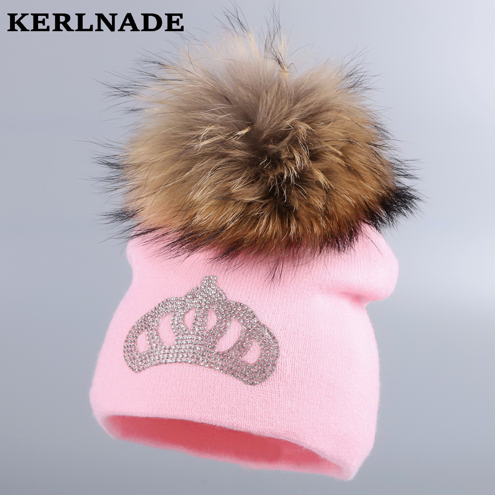 0-2 year old girl boy winter hats baby crown beanies mink pompom lovely children skullies cotton good quality casual gorros