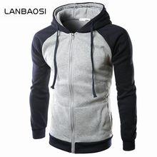 LANBAOSI Mens Patchwork Hoodies Sweatshirts Hochwertige Slim Fit Herbst Winter Jungen Tragen Jacke Mode Lässig Männer Hoody