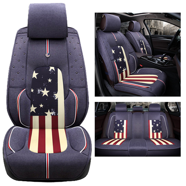 Car Seat Covers Set Linen Cloth Interior Accessories Cushion Styling Winter New Plush Pad