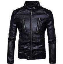 New Motorcycle Jackets Men Vintage Retro PU Leather Jacket Punk Classical Windproof Moto Jacket Motorcycle Slim Biker Coat