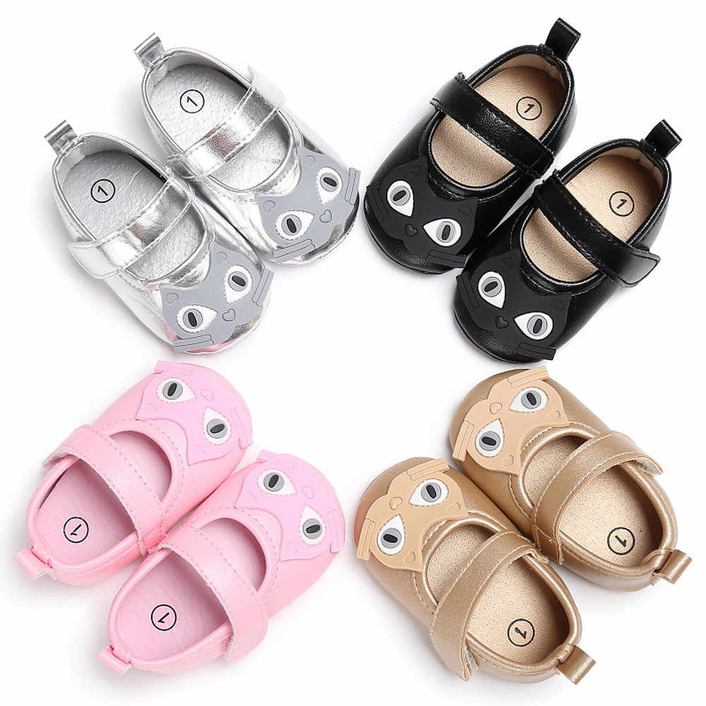 Baby Shoes Girls Boy First Walkers  Soft Shoes Cat Pattern Crib Toddler Crib Shoes Footwear Booties Newborn Shoes