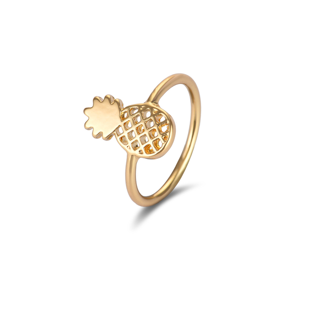 Jisensp Unique Adjustable Anillos Cute Pineapple Rings Gold Color Knuckle Rings
