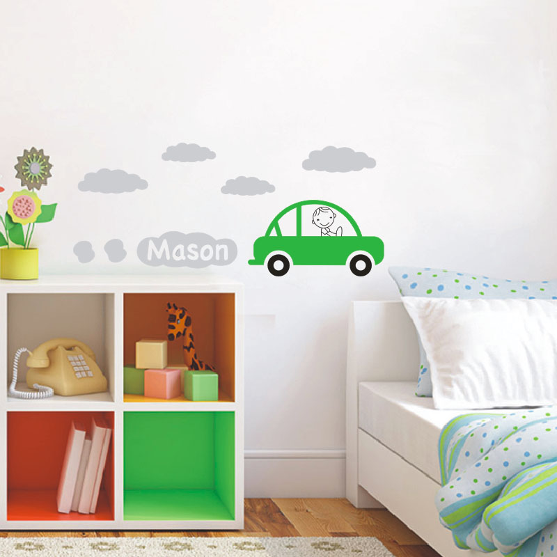 Car Decal With Personalized Boys Name Vinyl Wall Art Children Wall - Custom vinyl wall decals cars