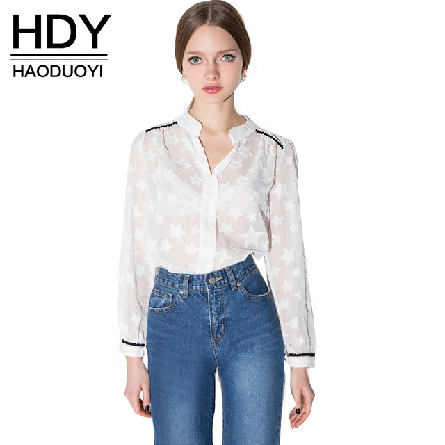 79cf88620b HDY Haoduoyi Long Sleeve V Neck Sheer Sexy Star Pattern Blouses Buttons  Down Casual Loose Long