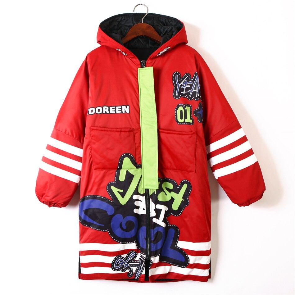 Women s Winter Jacket Zipper Hoodies Thick Cartoon Print Casual Red Coat for women Loose Harajuku