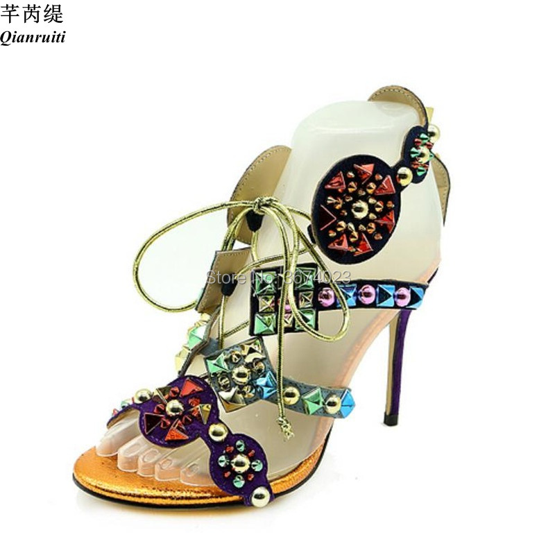 Qianruiti Women Gladiator Colorful Spikes Sandals Caged Peep Toe High Heels Rivets Stilettos Patchwork Sandals Lady Shoes women-in High Heels from Shoes    3