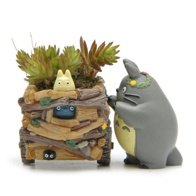 Creative Cartoon Cart Totoro Flowerpot Resin Japanese Miniature Figurines Gift Anime Figurine Ornaments Desktop Decor Home Decor 6