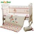 7 unids rosa cuna bedding set for girls bird cartoon recién nacido bebé ropa de Cama de Algodón Colcha Cuna Bumpers Set Hoja de Almohada 4 tamaño