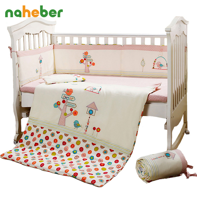 7Pcs Pink Baby Crib Bedding Set for Girls Cartoon Bird Newborn Baby Bed Linens Cotton Cot Quilt Bumpers Set Sheet Pillow 4 Size